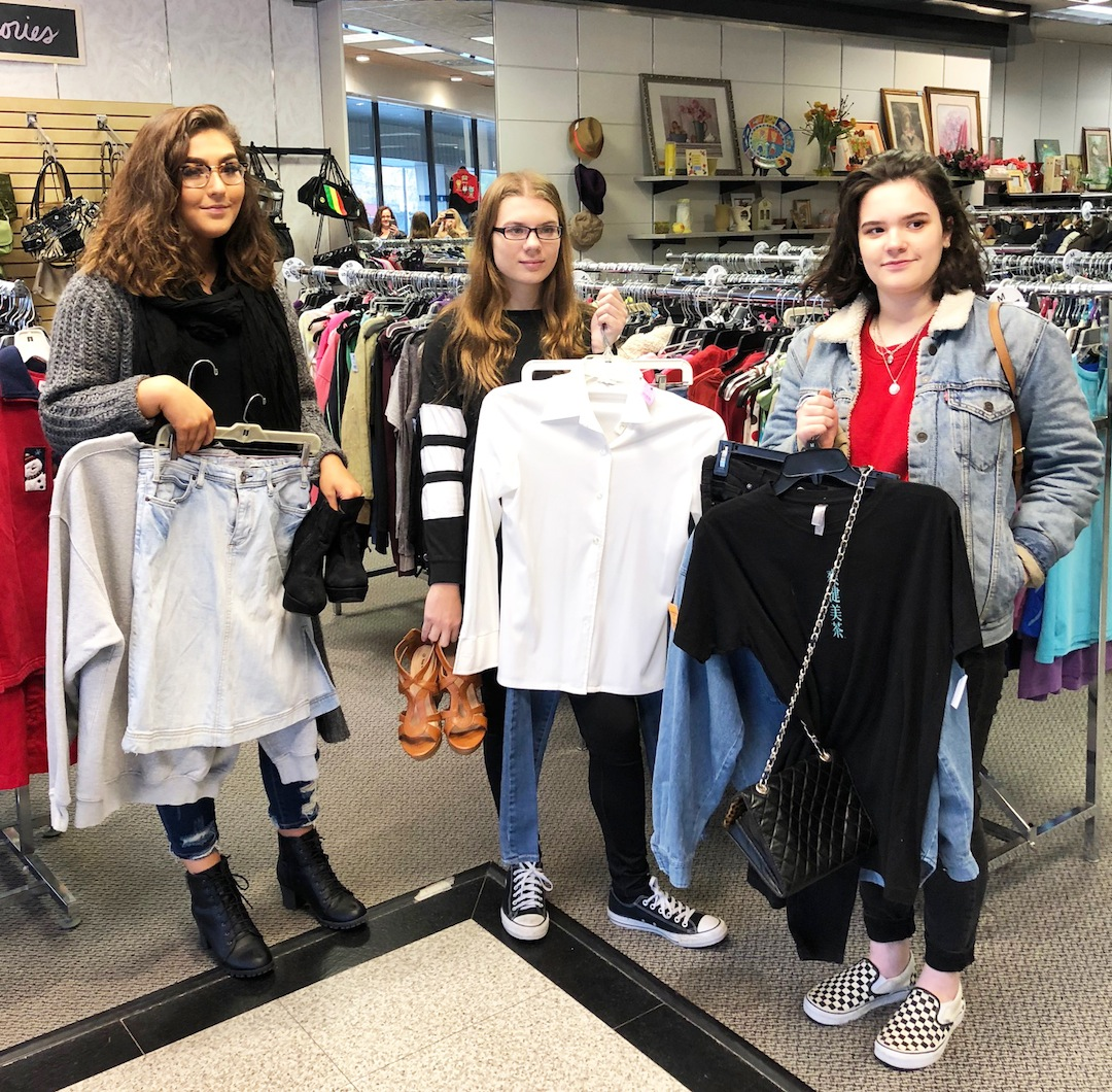 Pictured, Students Emillie Goffin (Lewiston-Porter), Megan Price (North Tonawanda) and Haley Abel (Lewiston-Porter) with their outfit selections.