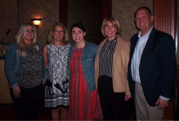 From left, Allie Gonyea, Cindi Broughton, scholarship chair; Olivia Gonyea, scholarship winner; and Mary and Kenneth Gonyea.