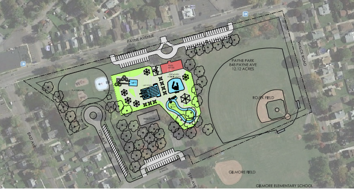 A design concept for the Memorial Pool in North Tonawanda presented by Nancy Nozik of Brandstetter Carroll Inc., Tuesday night at the North Tonawanda Common Council workshop.