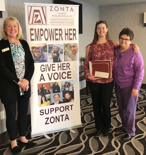 From left, Bonnie Weidert, Zonta education and awards chair; scholarship winner Sarah LoCurto; and Pam Kilmer, awards evaluation committee. (Submitted photo)