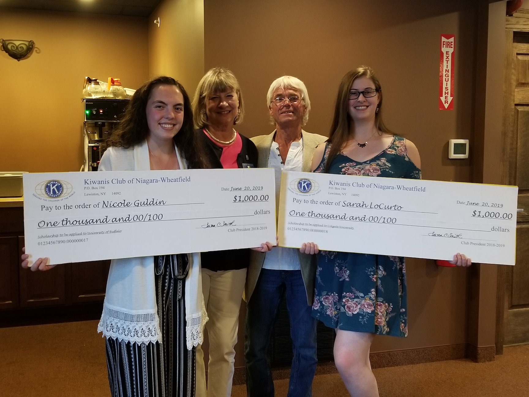 From left, Nicole Guldin, Kiwanis Club of Niagara-Wheatfield President Susan Smith, Immediate Past President Danny Maerten and Sarah LoCurto. (Photo submitted by Danny Maerten)