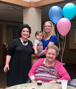 Henry Safulko, center, and Peggy Hawkins, front, celebrated their joint birthdays together. They are pictured with Henry's grandmother, Terry Collins, RN, administrator at Northgate and Laura Canner, admissions coordinator.