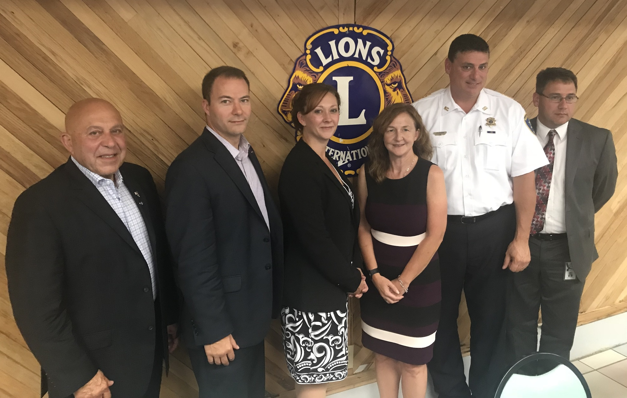New York Sen. Rob Ortt joins community leaders Sen. Chris Jacobs (not pictured), Assemblyman Angelo J. Morinello, Niagara County Legislator Rebecca Wydysh, Niagara County Mental Health Services Director Laura Kelemen, Niagara County Sheriff James Voutour and Niagara Wheatfield Superintendent Daniel Ljiljanich for an opioid forum at the Wheatfield Lions Club Five Senses Nature Park.