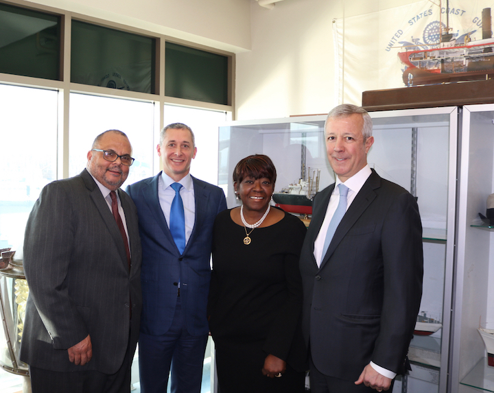 From left, African American Veterans Monument committee Chairman Warren Galloway, M&T Bank Chairman and CEO René Jones, Assemblywoman Crystal Peoples-Stokes and Delaware North Co-CEO Lou Jacobs. Additional visuals are available on the monument's website.