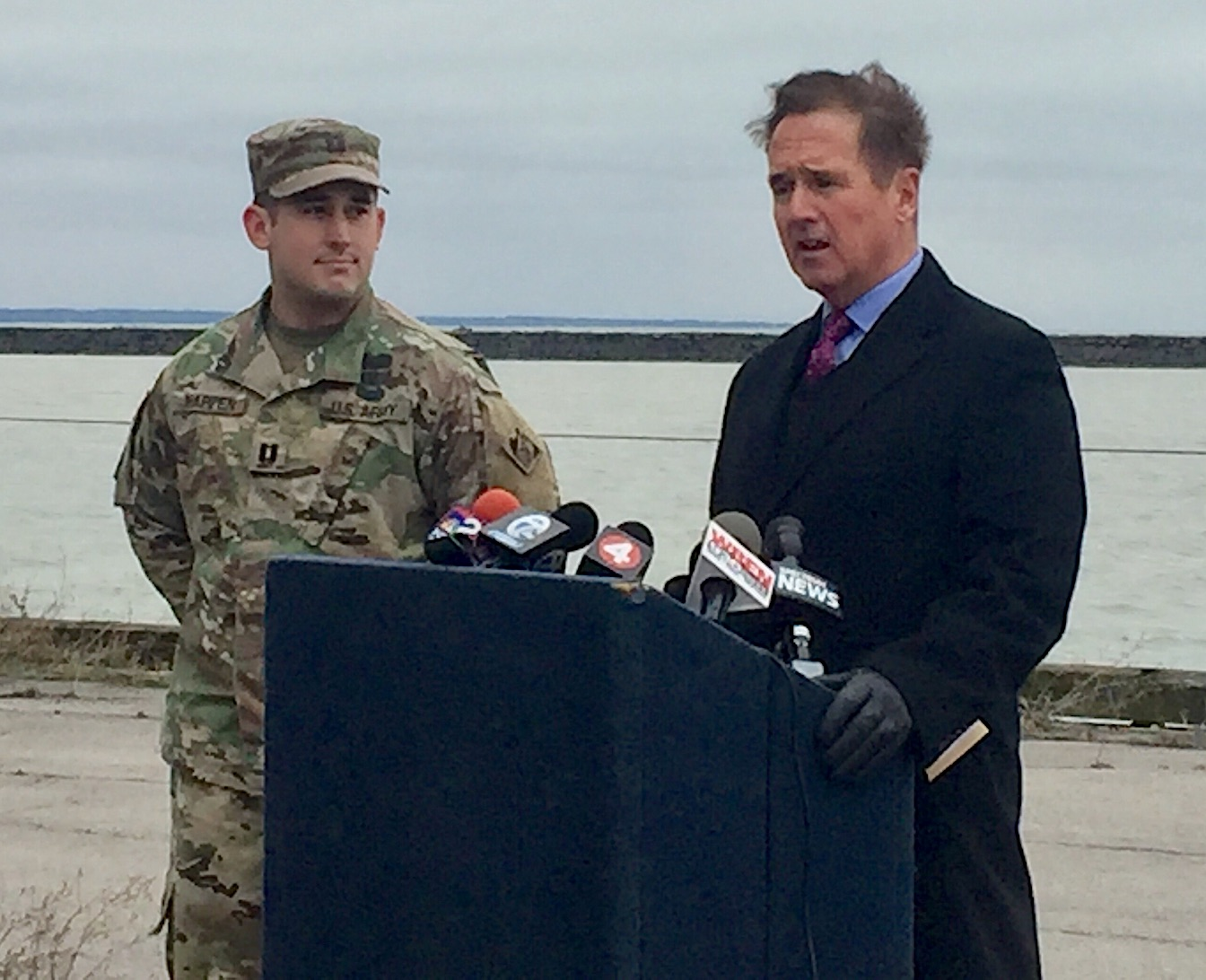 U.S. Army Corps of Engineers Buffalo District Capt. Henry Harpen with Congressman Brian Higgins.