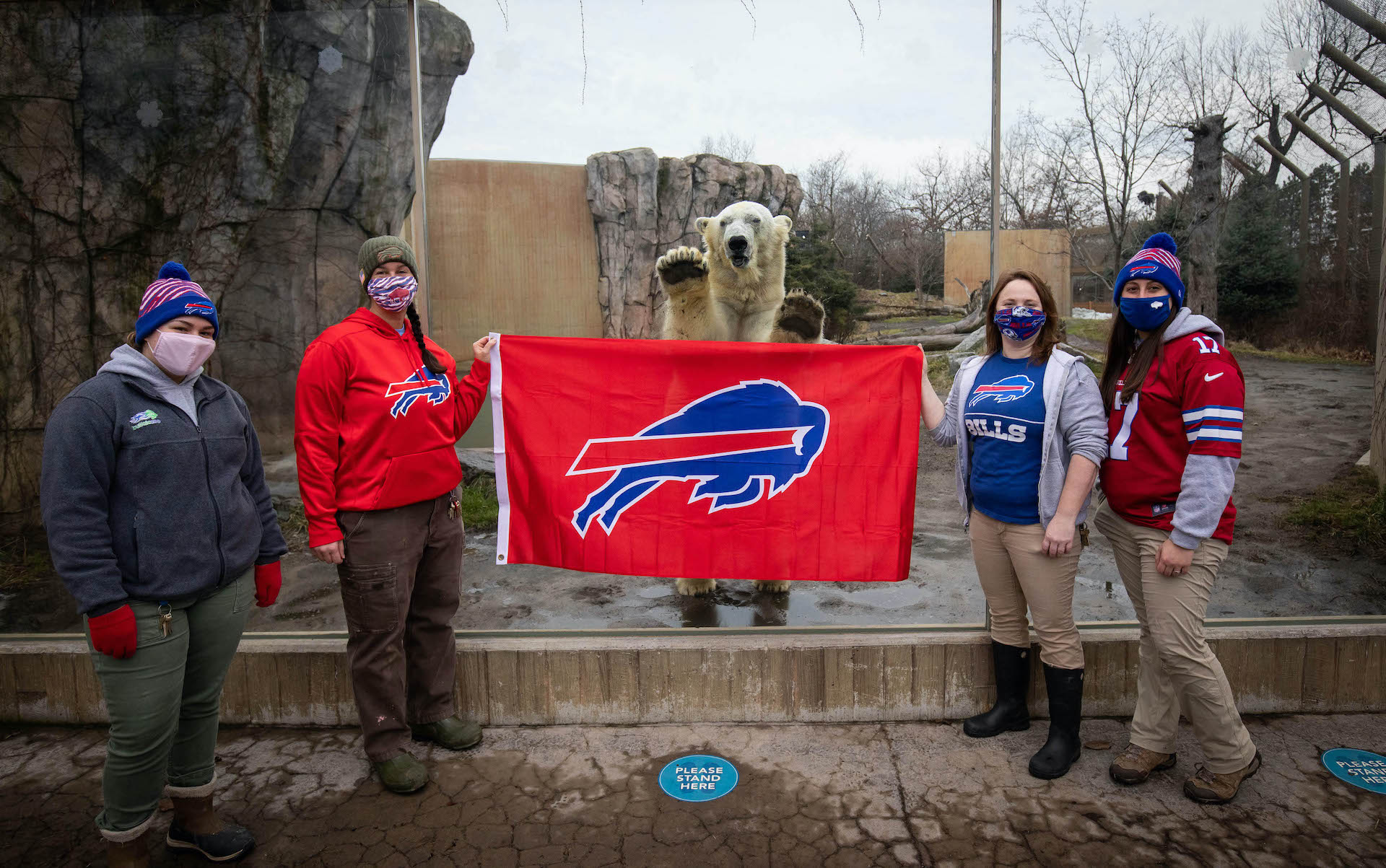 There is, perhaps, no larger Buffalo Bills fan than Luna, shown here with Buffalo Zoo staff.