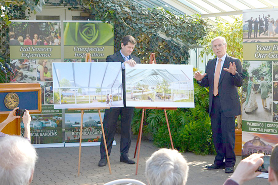 Erie County Executive Mark Poloncarz (center) joins Buffalo and Erie County Botanical Gardens Society President and CEO David Swarts to announce an Erie County funding commitment of $2.5 million to support the Botanical Gardens' planned expansion.