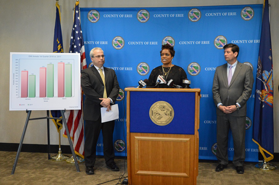 Bronte Williams (center, at podium) is joined by Erie County Executive Mark C. Poloncarz (right) and Commissioner of Central Police Services James Jancewicz (left) at an anti-DWI press event.