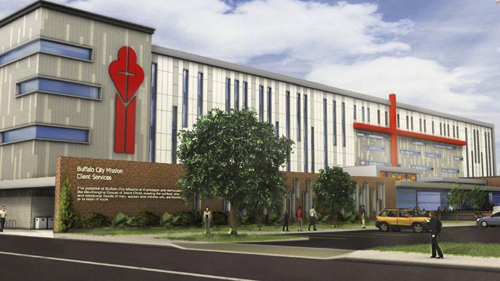 An artist's rendering of the Buffalo City Mission's new Alfiero Family Center of Hope and Promise. (Image courtesy of the agency/19 IDEAS)