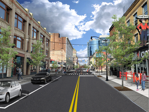 An artist's rendering of the future Buffalo entertainment district. (Image courtesy of the Office of City of Buffalo Mayor Byron W. Brown)