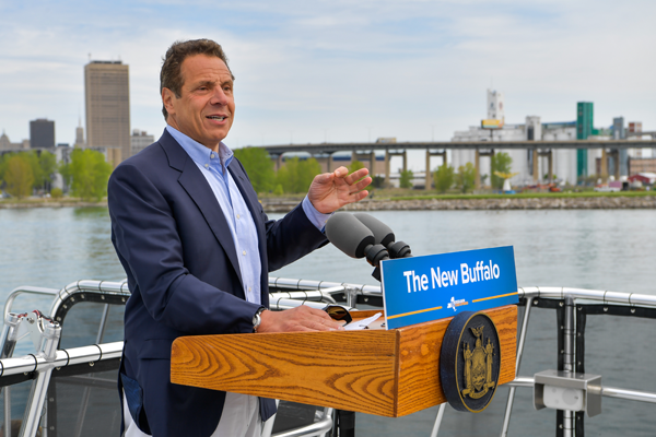 Gov. Andrew Cuomo tours completed attractions and encourages tourists to see the transformation of the Outer Harbor firsthand. (Photo courtesy of the governor's Flickr page)