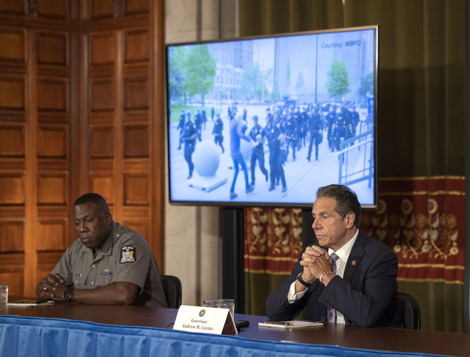 Gov. Andrew Cuomo provides updates on protests following George Floyd's death and the coronavirus during a press conference in the Red Room at the State Capitol. (Photo by Mike Groll/Office of Gov. Andrew M. Cuomo)