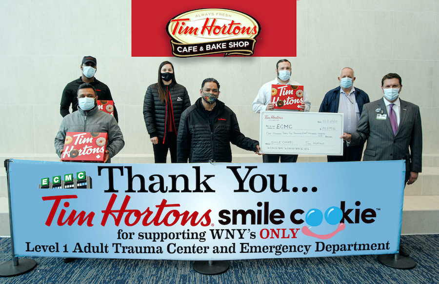 `Smile Cookie` check presentation at ECMC. (Submitted photo)
