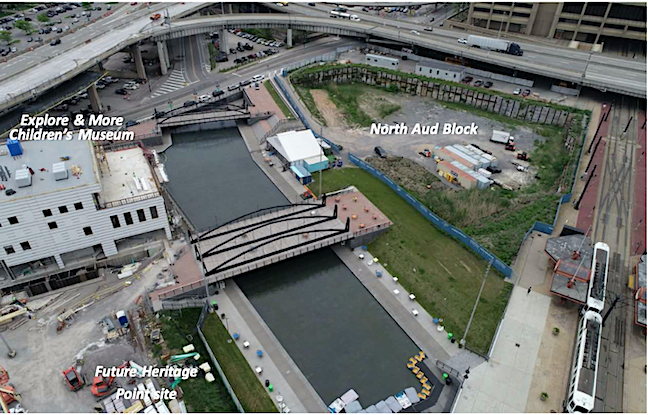 Figure 9, as shown, is an aerial view of the North Aud Block courtesy of the Erie Canal Harbor Development Corp.