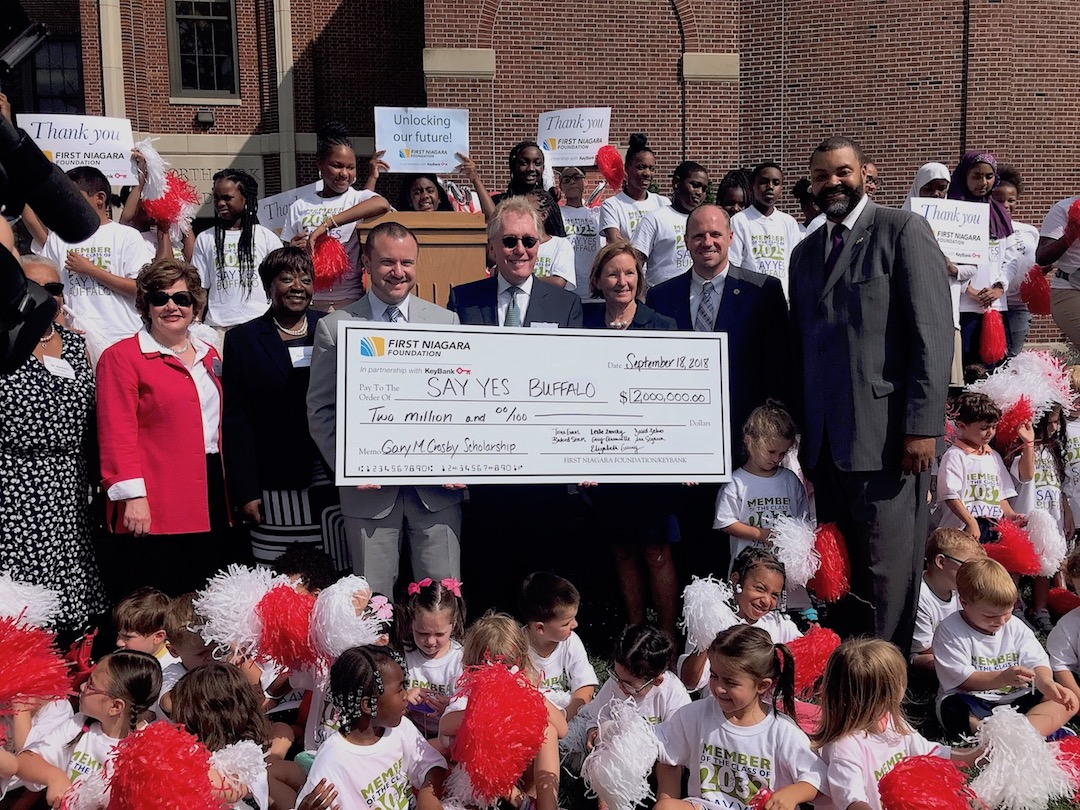 First Niagara Foundation and KeyBank executives announced their continued support of Say Yes Buffalo with a $2 million gift. (Submitted photo)