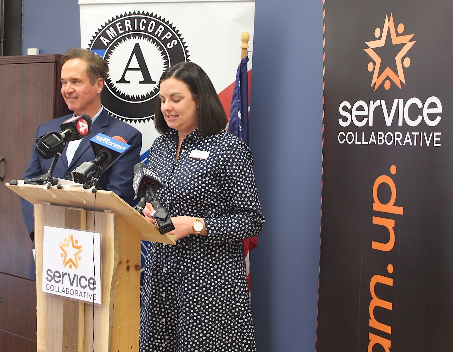 Congressman Brian Higgins and The Service Collaborative of WNY Executive Director Kate Sarata.