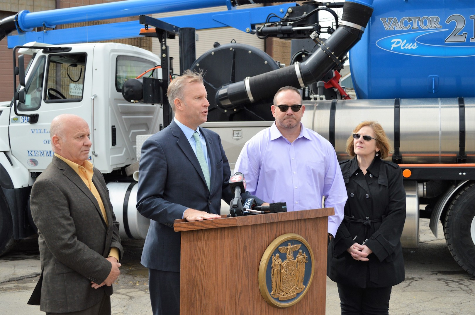 Pictured announcing $300,000 that New York State Sen. Chris Jacobs secured to support improvements to the Village of Kenmore's sewer system, from left, Mayor Patrick Mang, Jacobs, Superintendent of Public Works David Root and Clerk-Treasurer Kathleen Johnson.
