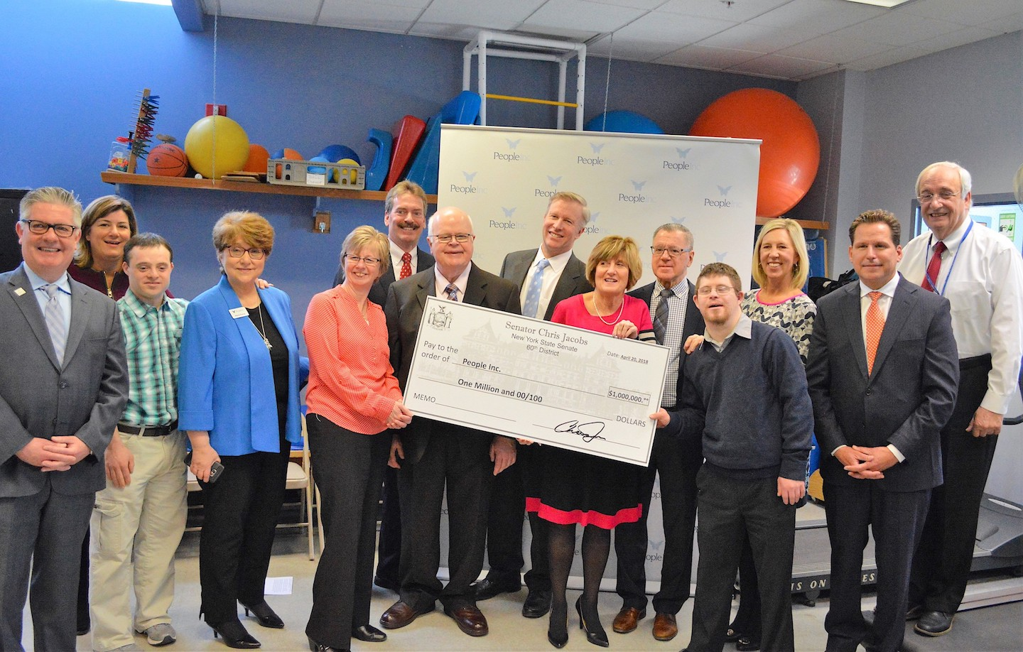 Sen. Chris Jacobs is pictured with People Inc. clients, board members and staff in announcing $1 million in funding he secured to expand health care delivery at People Inc.'s Elmwood Health Center.