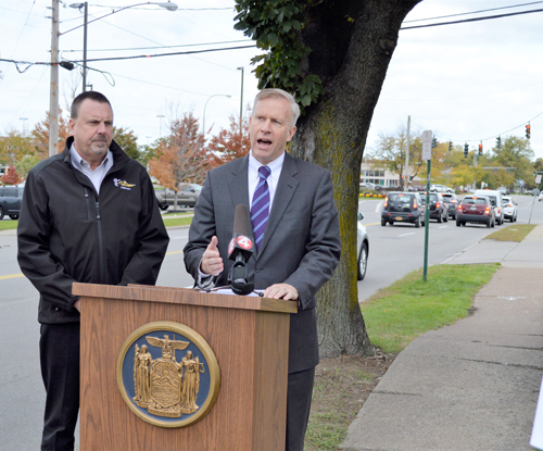 Town of Tonawanda Highway Superintendent Tom Jones and New York State Sen. Chris Jacobs are pictured announcing $300,000 in state funds that Jacobs secured for much-needed sidewalk replacements in the Town of Tonawanda.