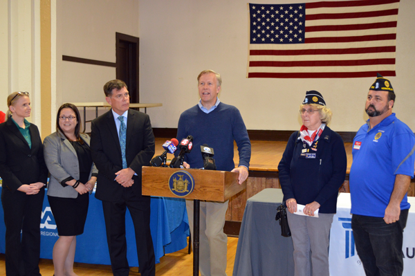 Sen. Chris Jacobs is pictured at the Brounshidle American Legion Post No. 205 announcing $25,000 in funding for Legal Aid Services for Veterans. From left: Legal Aid attorneys Christine Vogel, Claire Fortin and Paul Curtin, Jacobs, American Legion County Cmdr. Suzanne Clark and Brounshidle Post Cmdr. Ted Balbierz.