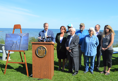 New York State Sen. Chris Jacobs is pictured with Evans Supervisor Mary Hosler, Erie County Legislator John Mills, and representatives of Citizens Against Wind Turbines in Lake Erie as he announces his push for a moratorium on wind turbines in the Great Lakes.