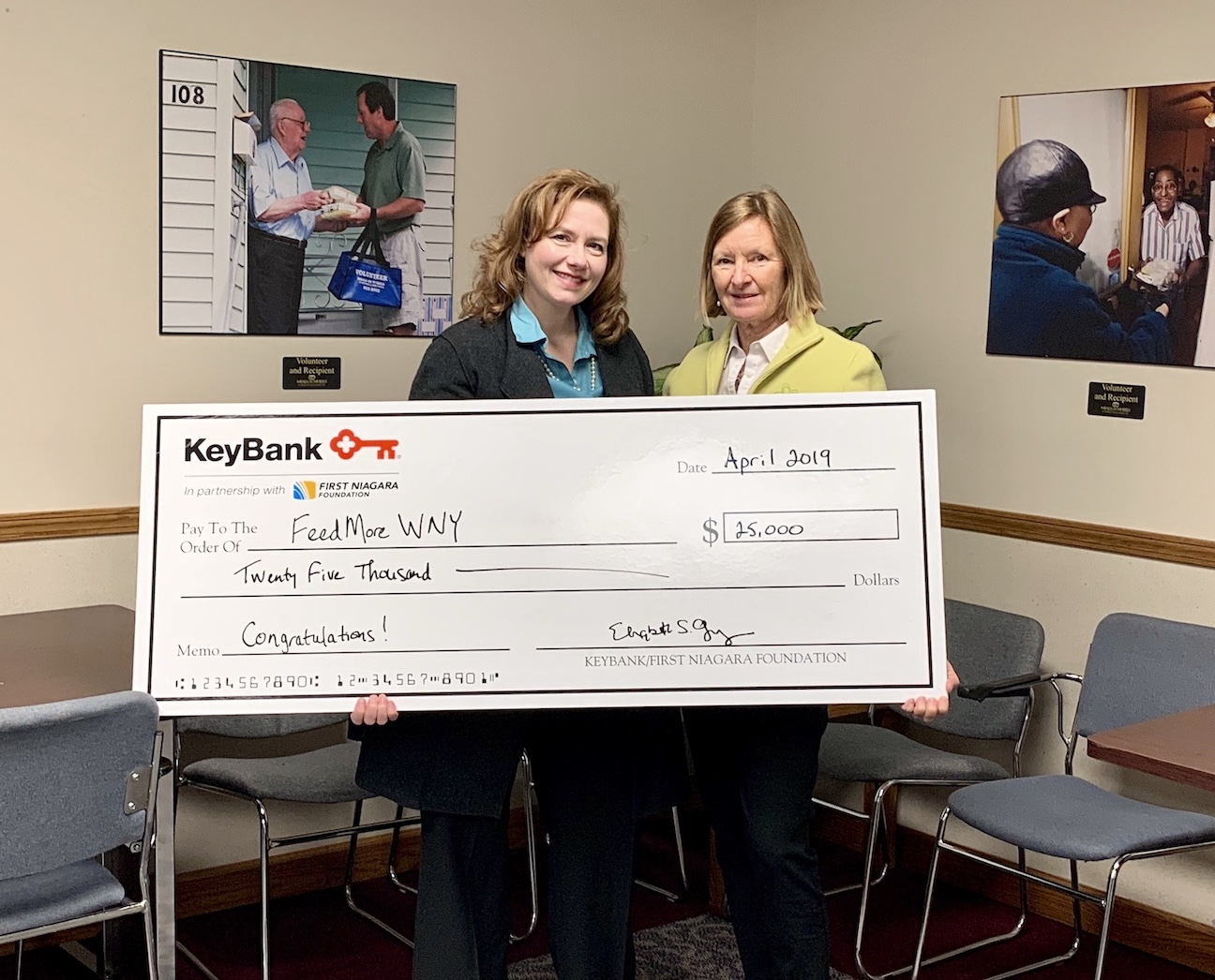 From left: FeedMore WNY President and CEO Tara Ellis, and Elizabeth Gurney, who leads the KeyBank Foundation and First Niagara Foundation.