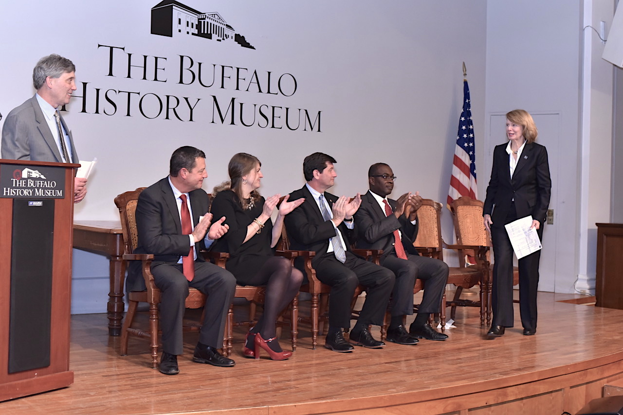 Mary C. Wilson of The Ralph C. Wilson, Jr. Foundation announced a $600,000 gift to The Buffalo History Museum. From left: Greg Tranter, member, museum board managers; Steve McCarville, president, board of managers; Melissa Brown, executive director, The Buffalo History Museum; Erie County Executive Mark Poloncarz; Buffalo Mayor Byron Brown.