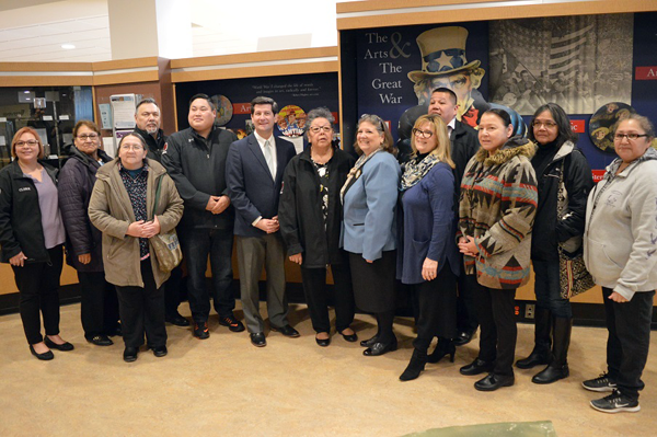 Erie County Executive Mark Poloncarz (sixth from left) joined ECCSW Executive Director Karen King (fourth from right) and members of the Seneca Nation on Thursday as the Monumental Women of WNY Committee presented an update on the progress of the Monumental Women of WNY project.