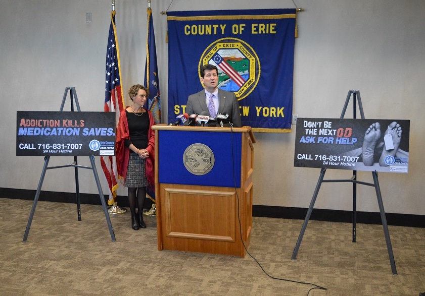 Erie County Executive Mark C. Poloncarz (at podium) is joined by Health Commissioner Dr. Gale Burstein to review the county's opioid fatalities from 2017. As of Feb. 27, the county medical examiner's office has confirmed 233 opioid overdose fatalities for 2017, with another 35 suspected but still pending confirmation. In 2016, 301 individuals died of opioid overdoses in Erie County.