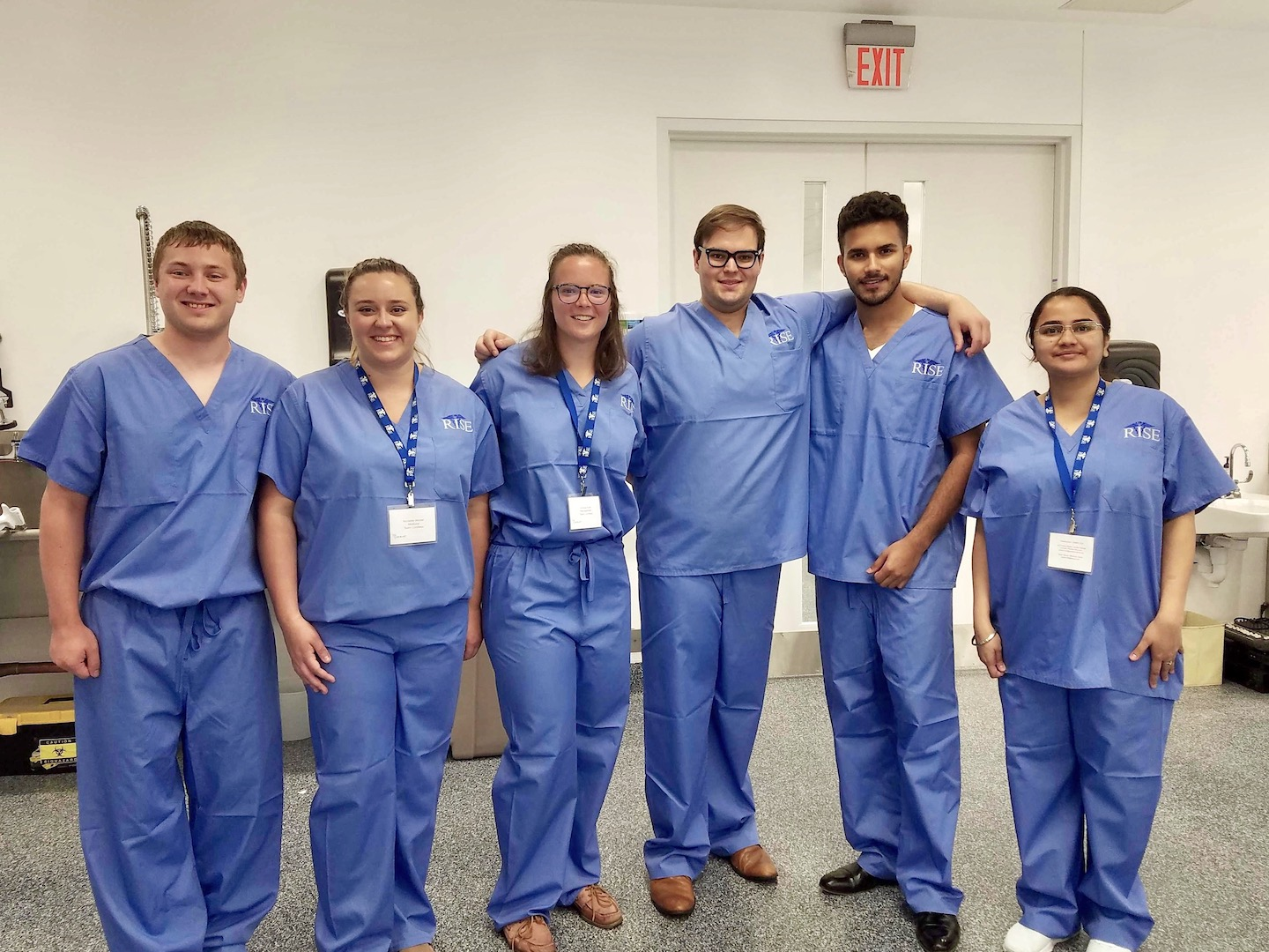 Members of the Limitless team, including Jacob Opalinski, a biomedical engineering student; Nicolette Winder, an M.D. candidate; Andrea Kraft, an M.B.A./M.P.H. candidate; Blake Kruger, an M.D. candidate; Arnav Matta, an innovation management student; and Prerna Pant, Ph.D. candidate, biomedical engineering. (University at Buffalo photo)