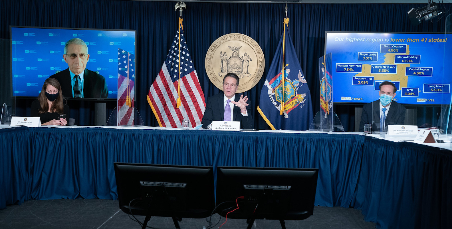 At a press conference Monday morning, Gov. Andrew Cuomo and National Institute of Allergy and Infectious Diseases Director Dr. Anthony Fauci updated New Yorkers on the coronavirus spread. (Images courtesy of the Office of Gov. Andrew M. Cuomo)