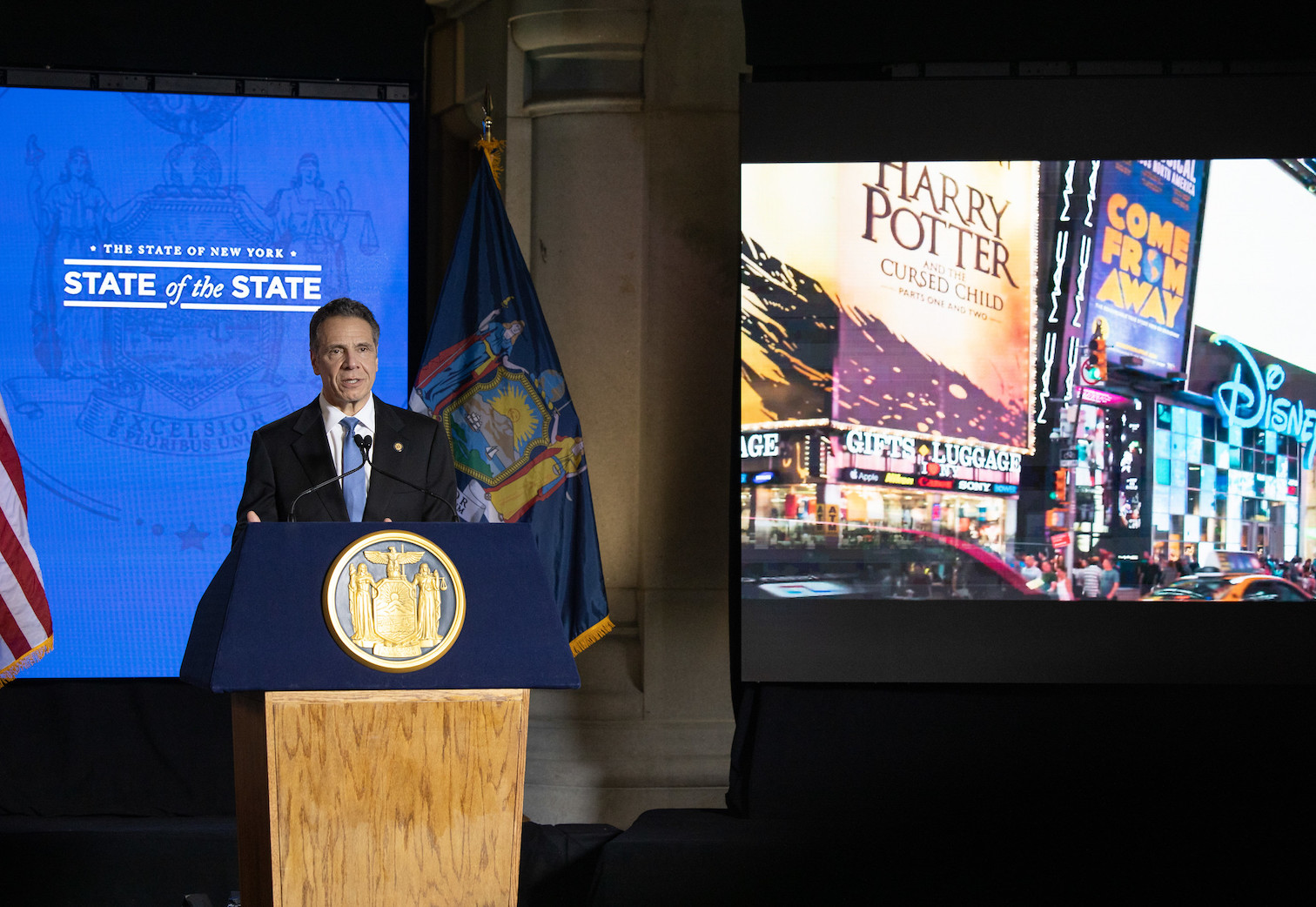 Gov. Andrew Cuomo on day two of his 2021 State of the State campaign. (Photo by the Office of Gov. Andrew M. Cuomo)
