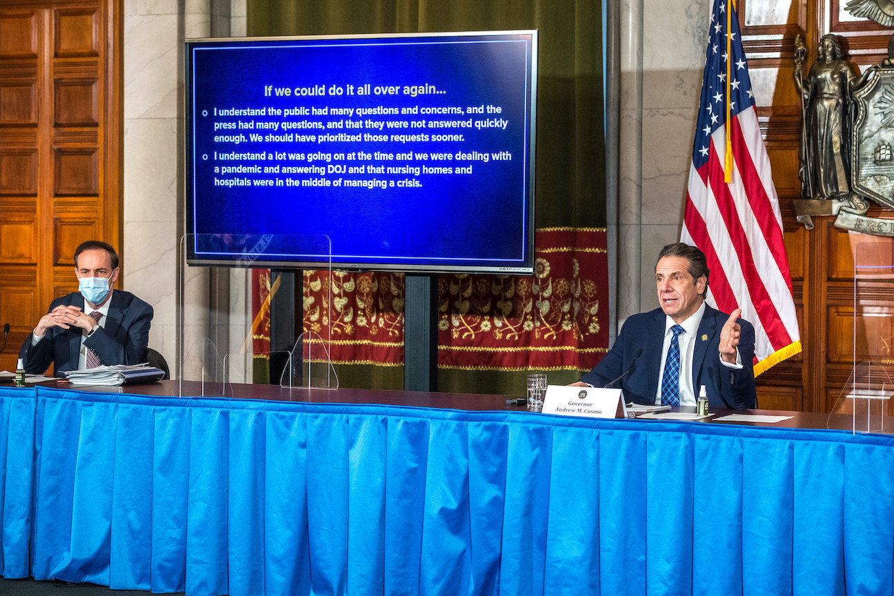 Gov. Andrew Cuomo holds a press briefing Monday. To his right is New York State Health Commissioner Dr. Howard Zucker. (Photo by Darren McGee/Office of Gov. Andrew M. Cuomo)