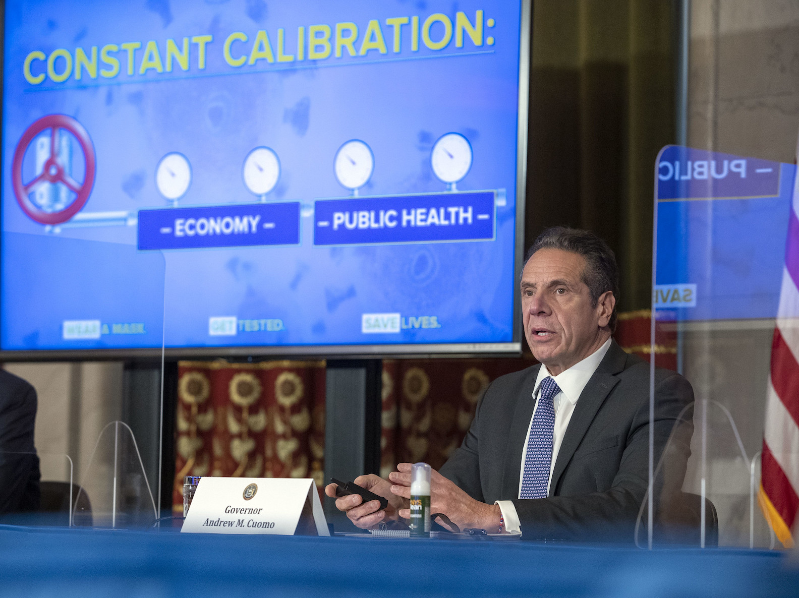 Gov. Andrew Cuomo provides a coronavirus update from the Red Room at the State Capitol. (Photo by Mike Groll/Office of Gov. Andrew M. Cuomo)