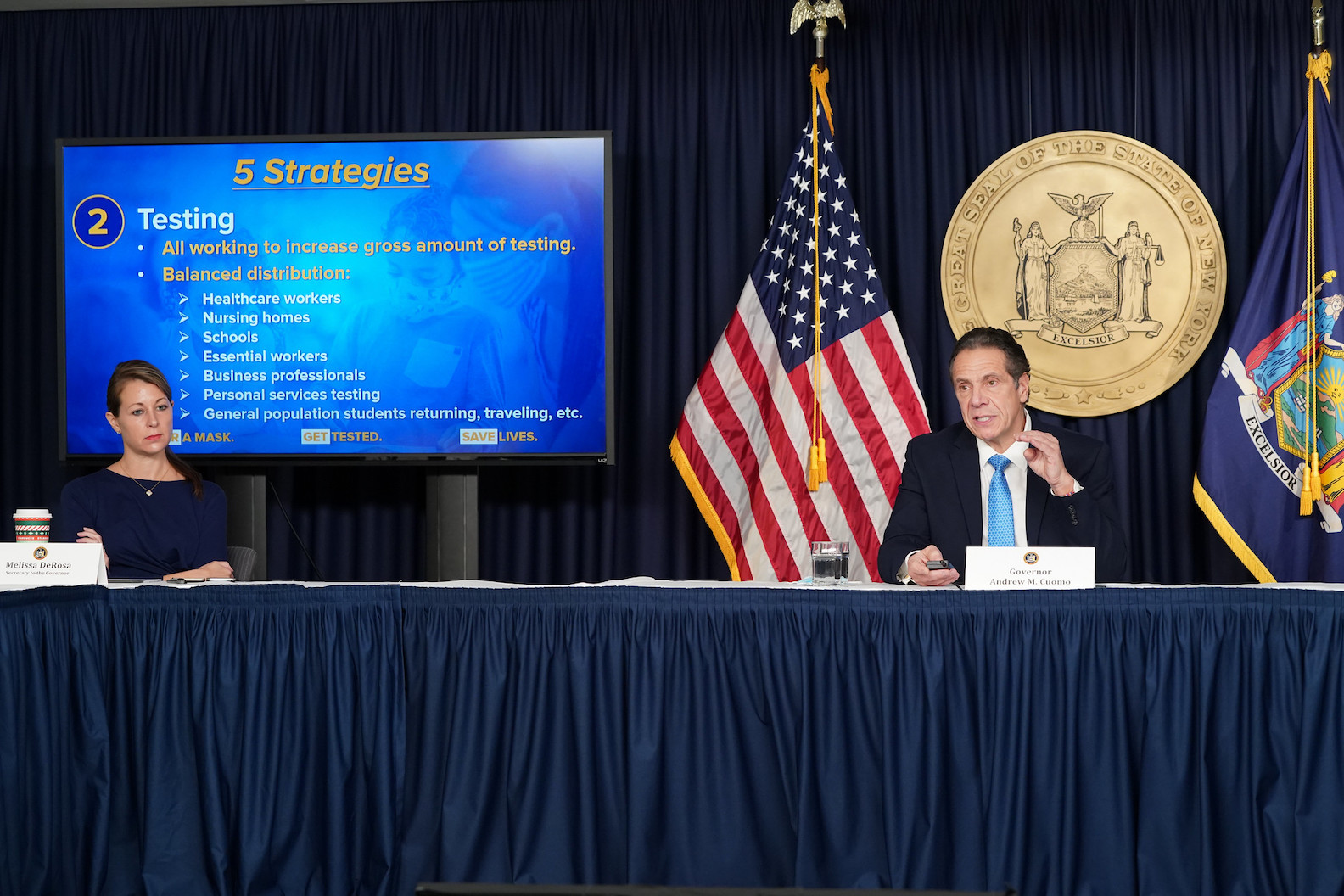 Gov. Andrew Cuomo updates New Yorkers on the state's COVID-19 response. (Image courtesy of the Office of Gov. Andrew M. Cuomo)