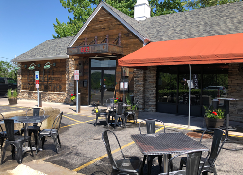 Outdoor seating is available at Gallo Coal Fire Kitchen in Lewiston.
