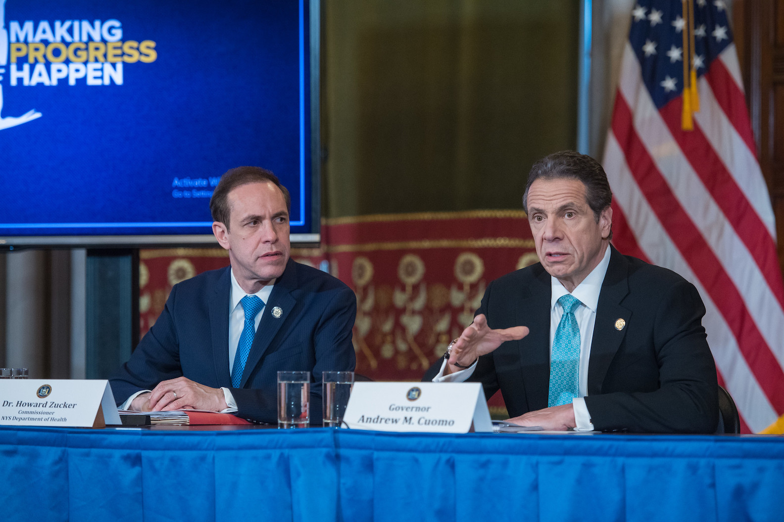Dr. Howard Zucker and Gov. Andrew Cuomo appear at a recent press conference. (Photo courtesy of the Office of Gov. Andrew M. Cuomo)