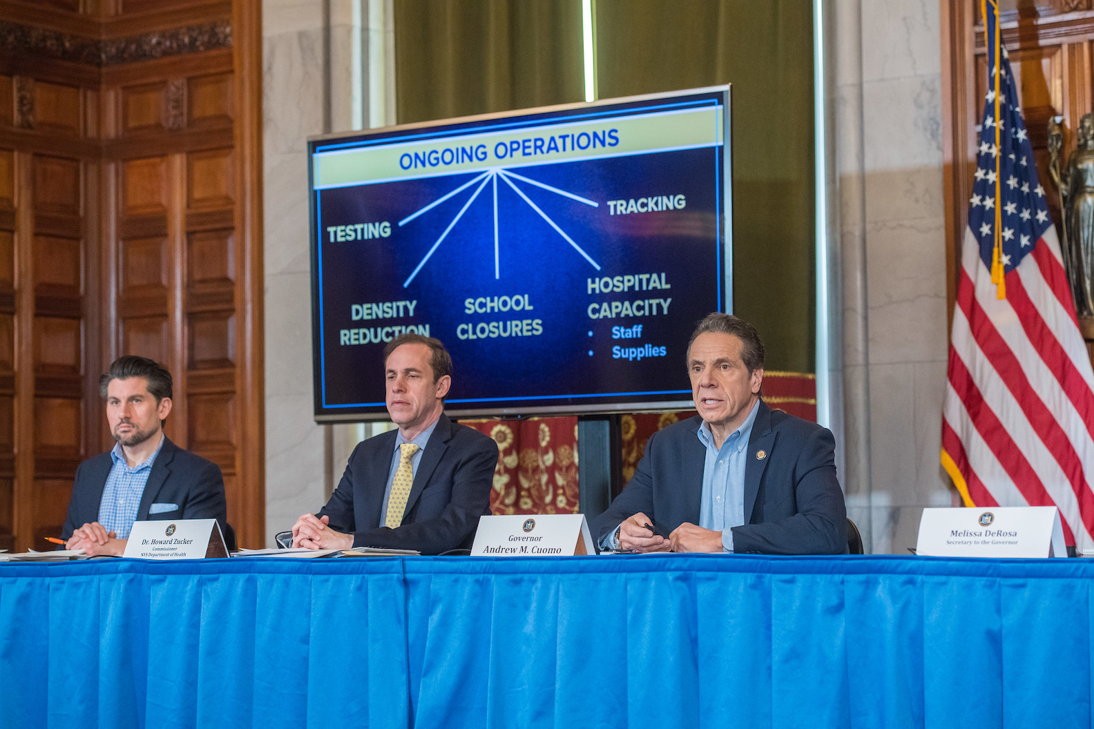 Gov. Andrew Cuomo holds a briefing on the coronavirus. He explained ongoing operations of testing, tracking, density reductions, school closures, and hospital capacity. (Photo credit: Darren McGee/Office of Governor Andrew Cuomo)