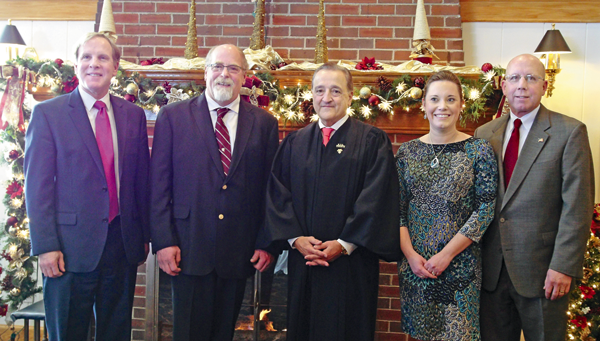 From left: At the New Year's Day swearing-in ceremony for town officials at the Buffalo Launch Cub, from left, are Town Justice Mark Frentzel, Town Councilman Peter Marston Jr., New York State Supreme Court Justice Russell Buscaglia, Town Councilwoman Jennifer Baney and Town Highway Superintendent Richard Crawford Jr. (Photos by Alice E. Gerard)