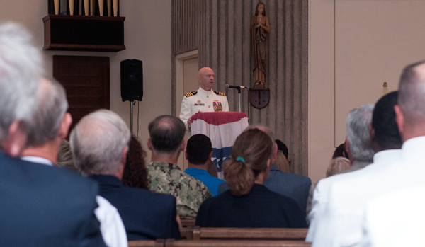 Capt. Bob Wirth, oncoming commodore of Submarine Squadron 20, addresses the crowd during a change of command ceremony at the chapel on Naval Submarine Base Kings Bay. (U.S Navy photo by Mass Communication Specialist 2nd Class Bradley Gee/Released)