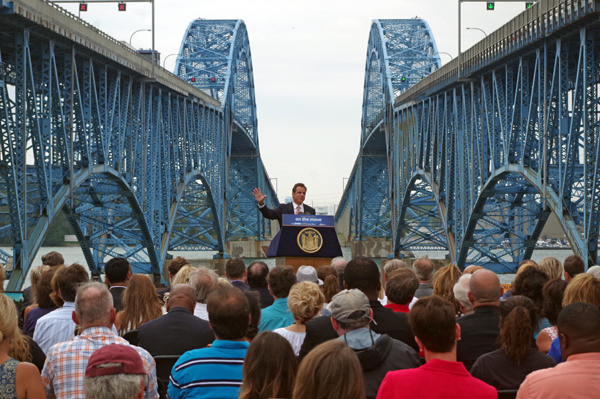 Gov. Andrew Cuomo announces a new cashless tolling system for the Grand Island bridges. (Photo by Larry Austin)