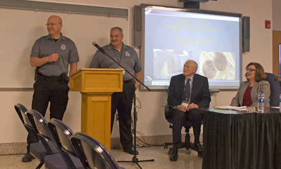 Frank McNamara, left, and Michael Paternostro were introduced as the new school resource officers in the Grand Island Central School District during Tuesday's Board of Education meeting. (Photo by Larry Austin)