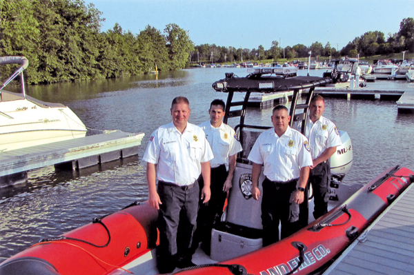 Grand Island Fire Co. chief officers Mark Sadkowski, Chris Soluri, Omar Sortino, and Dan Mathes man the new MU-2 vessel. (Photo by Ray Pauley)