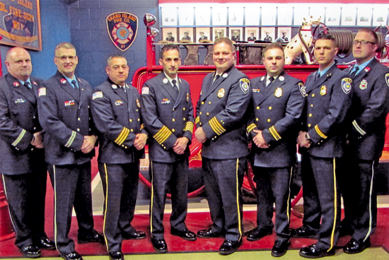 Pictured are the 2018 firematic officers: Scott McCormick, Jon Cinelli, Omar Sortino, Chris Soluri, Mark Sadkowski, Dan Mathes, John Podlucky and Jourdain Benoit. (Not pictured: Don Portik.)