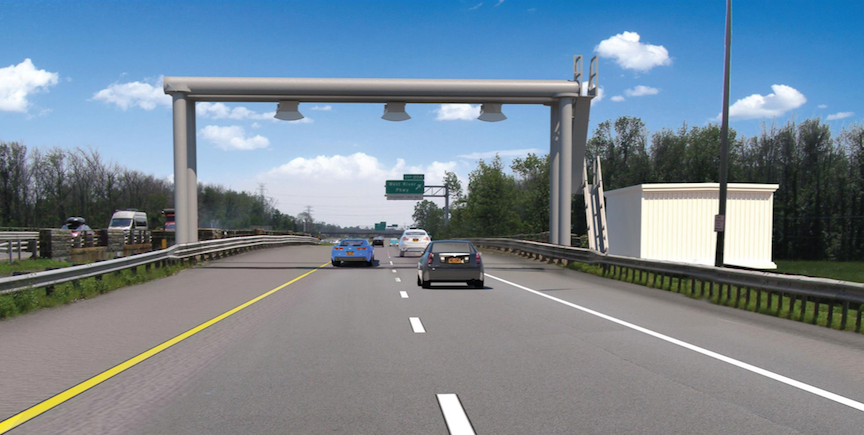 Pictured is an artist's rendering of the cashless toll system set to debut next year.