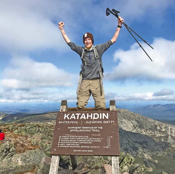 Jeff Bullock celebrates near the completion of hike on the 2,190-mile Appalachian Trail. (Photo courtesy Jeff Bullock)
