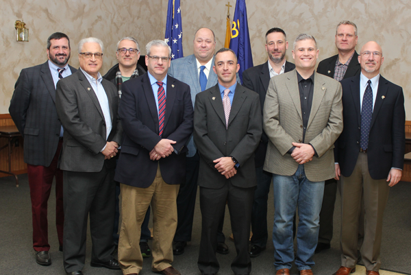 Nine men were inducted into Grand Island Knights of Columbus Mary Star of the Sea Council No. 4752. From left: Jon Hart, second degree, Phillip Marianis, Enrico Frosolone, Robert Figliola, Donald Scalise, Paul Golembiewski, PJ Garland, Chuck Barone, TJ Pyc and David Gaydosh.