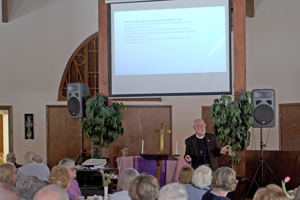 The Rev. Earle King of St. Martin-in-the-Fields Episcopal Church speaks during the Lenten Luncheon March 7 at Trinity United Methodist Church. King's topic was `Justice and the Opioid Crisis.` (Photo by Larry Austin)