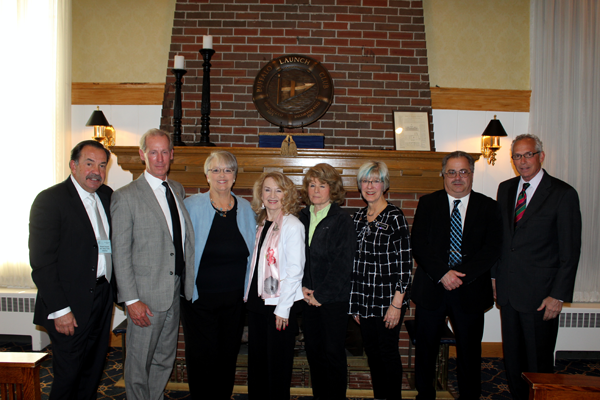 Pictured, from left, are the 2017 emeritus honorees: Robert L. Vacanti, Peter F. Hunt, Mary J. Schemm, Christine L. Rothschild, Ann Dunning, Susan A. Downing, Gordon L. Trank and Peter P. Scarcello. Each received an emeritus pin.