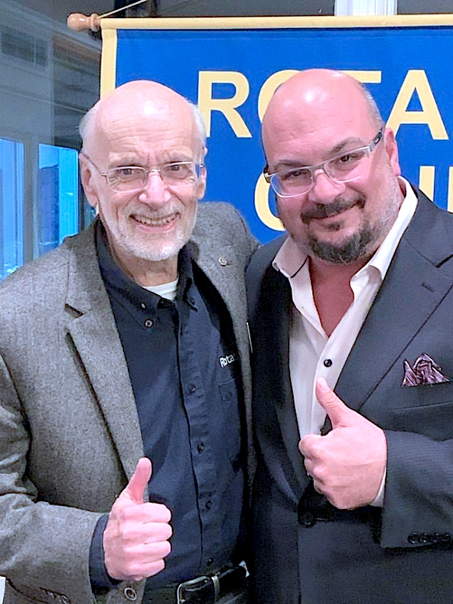 Rotary Club President Richard Earne with `CSI` creator Anthony Zuiker.